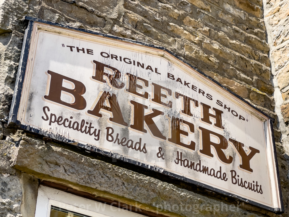 """""""Reeth Bakery Sign, Swaledale, North Yorkshire."""" stock image"""
