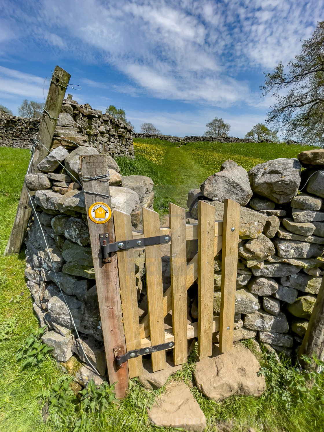 """""""Public Footpath Stile with Gate, Reeth, Swaledale."""" stock image"""