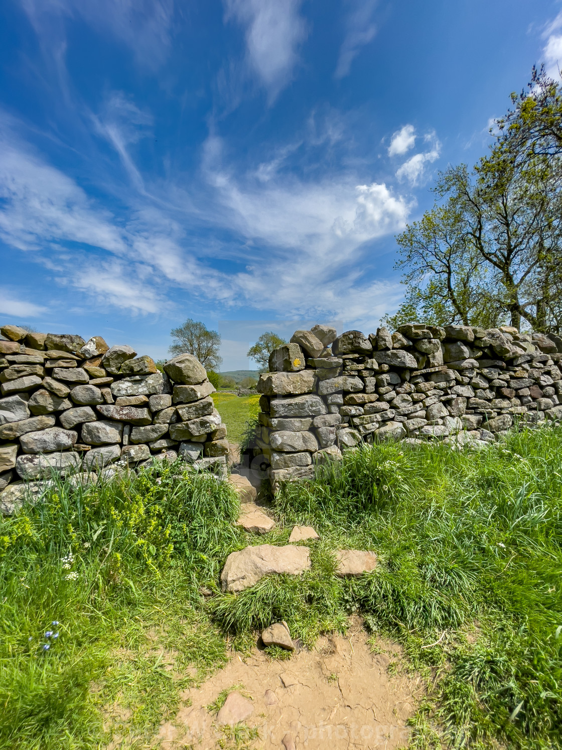 """""""Public Footpath Stile in Dry Stone Wall, Reeth, Swaledale."""" stock image"""