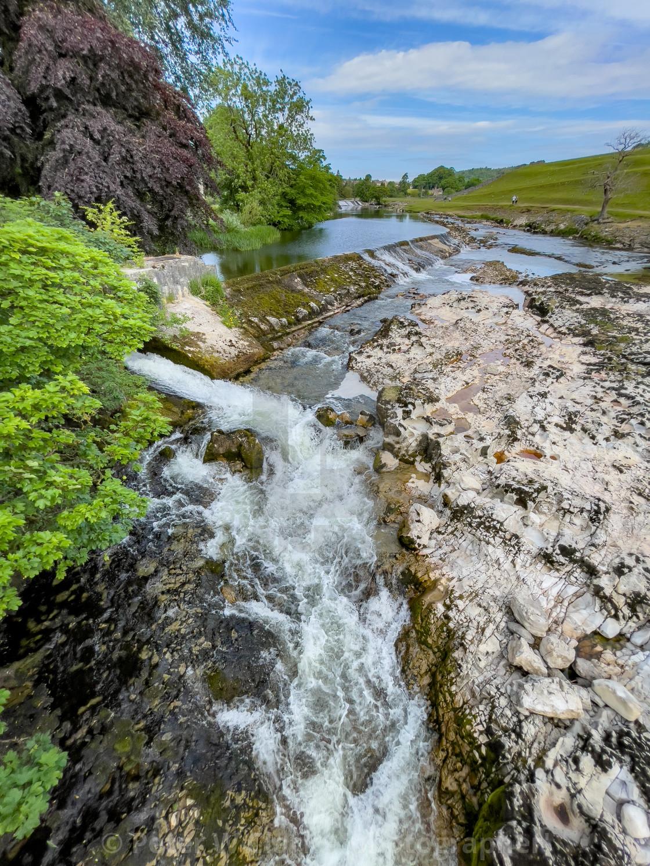 """Linton Lower Falls, River Wharfe."" stock image"