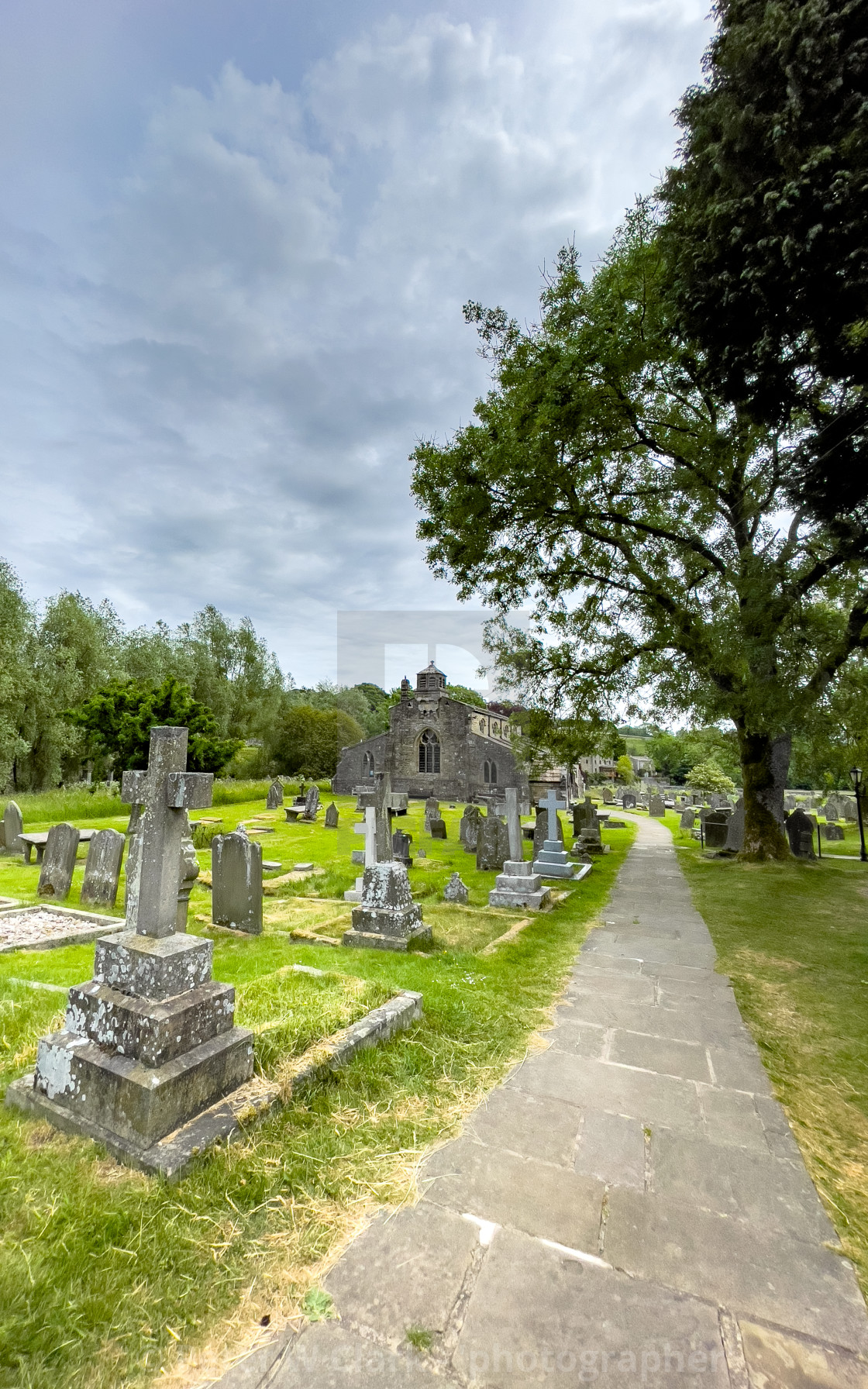 """""""Parish Church, St Michael and All Angels, Linton in Craven."""" stock image"""