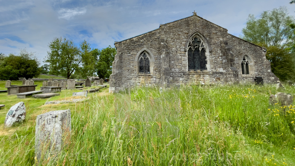 """""""Parish Church and Graveyard, St Michael and All Angels, Linton in Craven."""" stock image"""