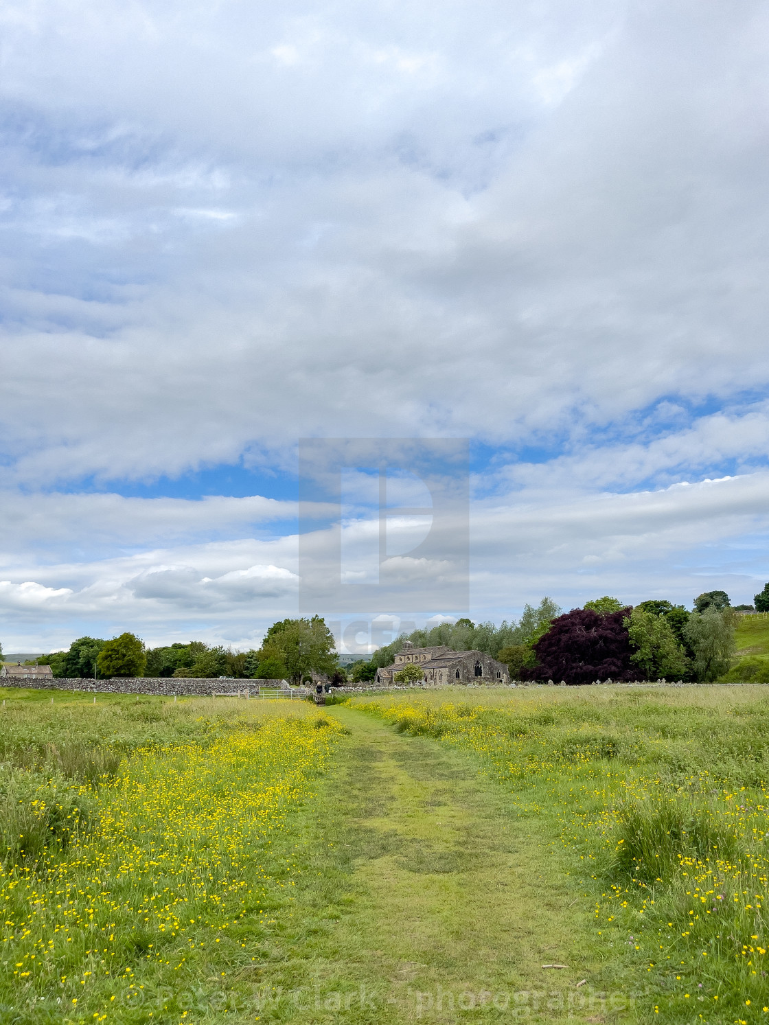 """""""Footpath, Parish Church, St Michael and All Angels, Linton in Craven."""" stock image"""