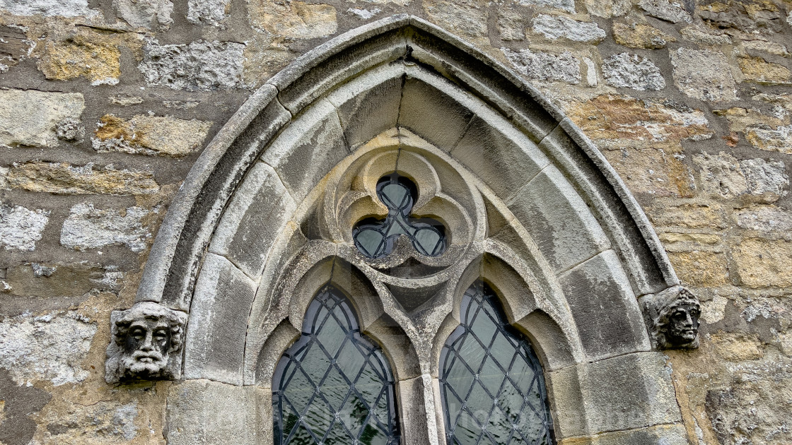 """""""Parish Church, St Michael and All Angels, Linton in Craven. Window Architecture Detail."""" stock image"""