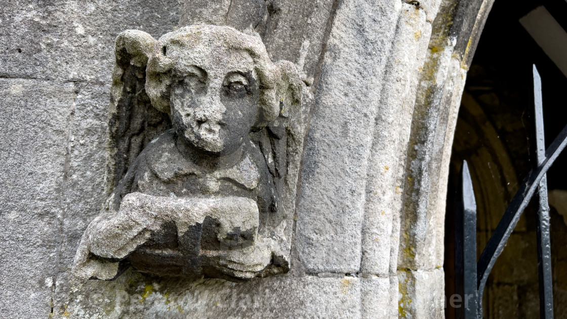 """""""Parish Church, St Michael and All Angels, Linton in Craven. Carved Angels at Porch Entrance."""" stock image"""