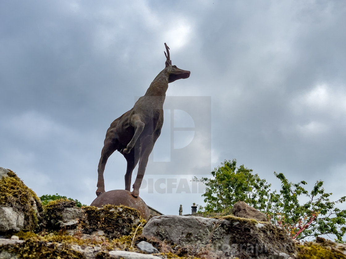 """""""Barden Tower, a Historic Hunting Lodge. Deer at Entrance."""" stock image"""