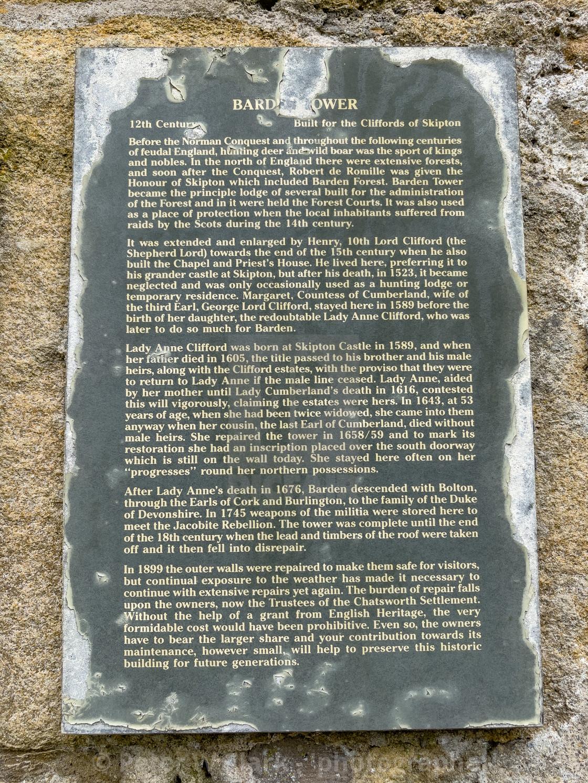 """Barden Tower, Descriptive Information Plaque."" stock image"