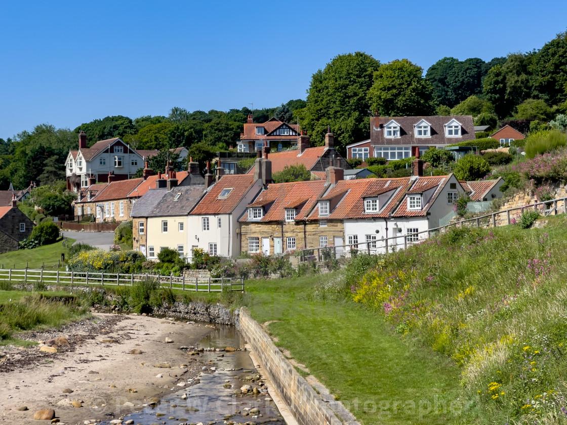 """Sandsend, Quaint Coastal Cottages"" stock image"