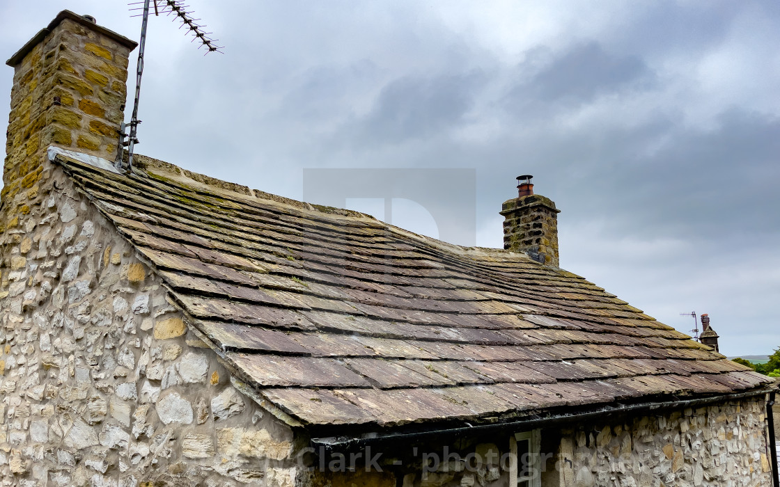 """Grassington, Stone Slate Roof, Yorkshire Dales."" stock image"
