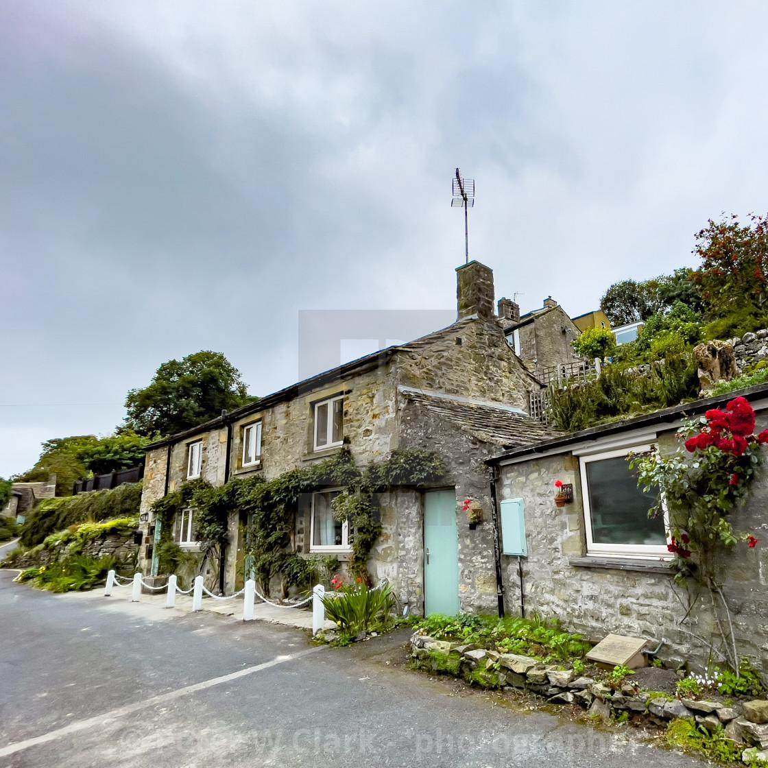 """Grassington, Cottage, Stone Built."" stock image"
