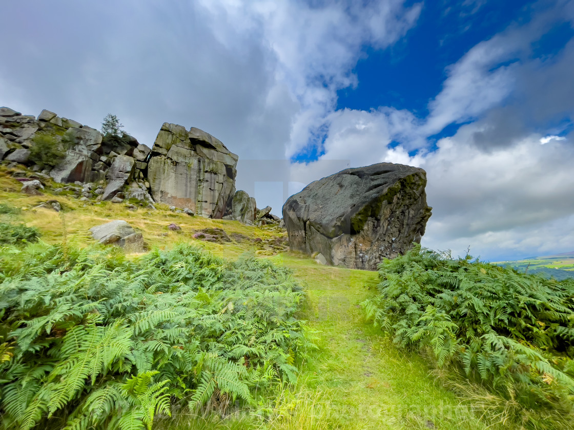 """""""Cow and Calf Rocks, Ilkley, Yorkshire."""" stock image"""