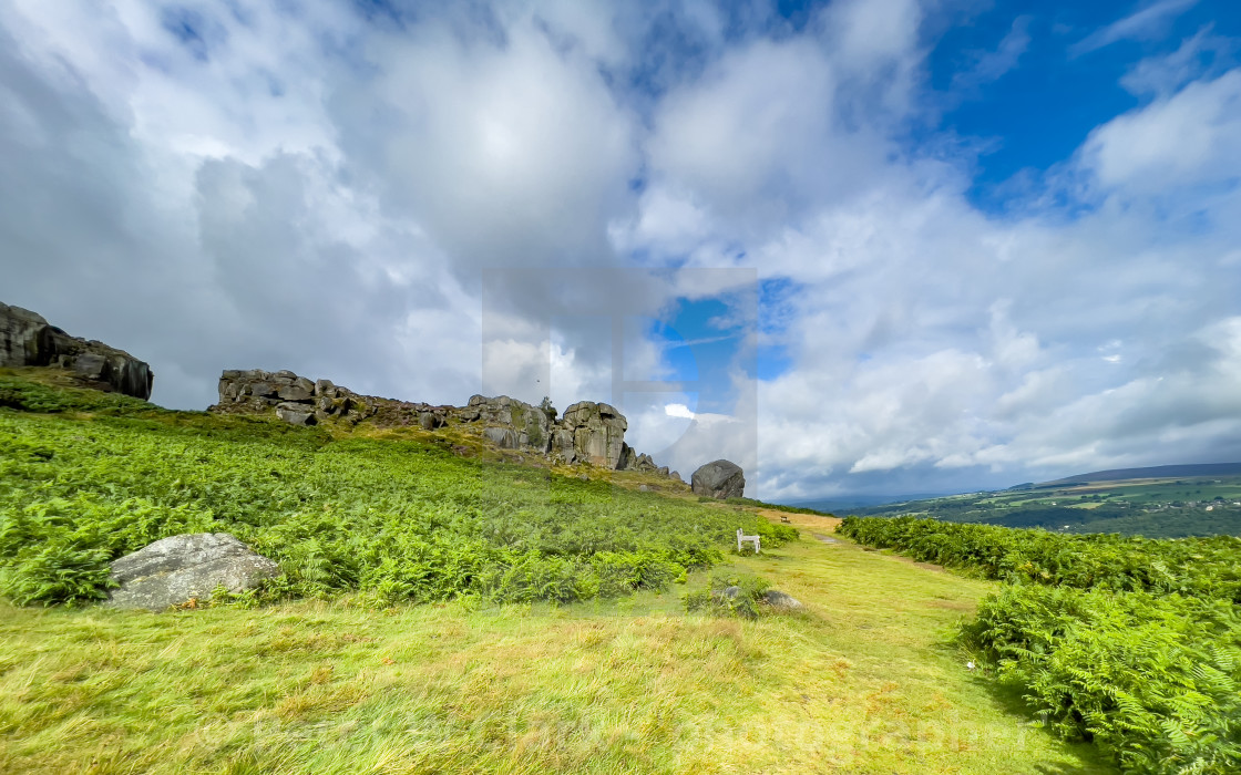 """""""Cow and Calf Rocks, Ilkley."""" stock image"""