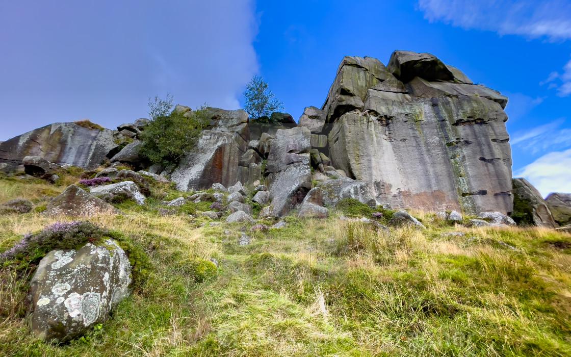"""Ilkley Moor, Rock Outcrop overlooking Ilkley."" stock image"