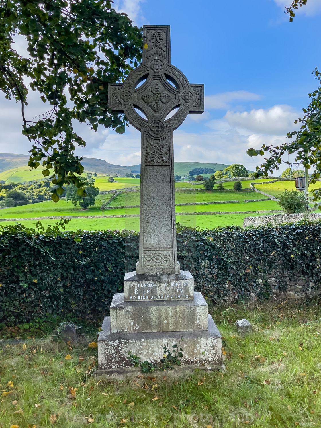 """""""Headstone, Ralph Bowdin, St Peter's Church, Hebden, Yorkshire Dales."""" stock image"""
