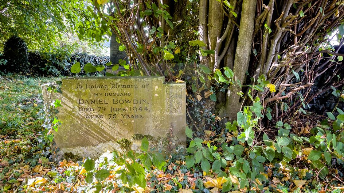 """Headstone, Daniel Bowdin, St Peter's Church, Hebden, Yorkshire Dales."" stock image"