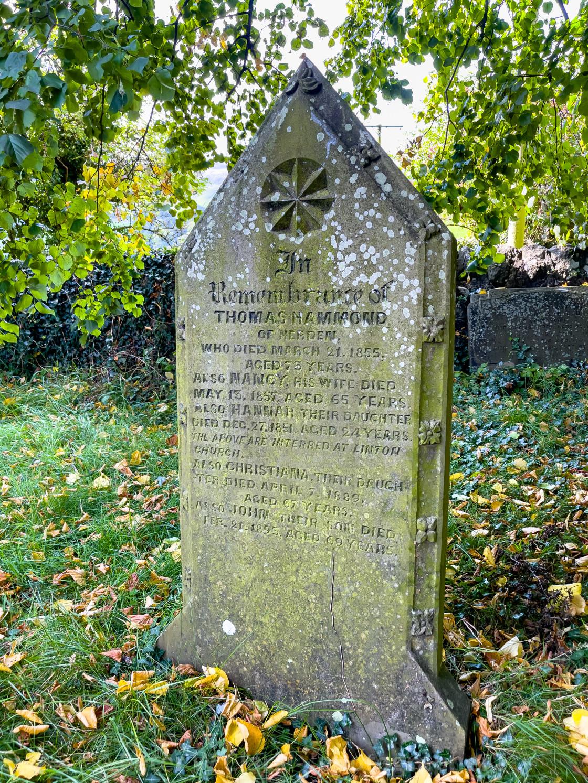 """Headstone, Thomas Hammond, St Peter's Church, Hebden, Yorkshire Dales."" stock image"