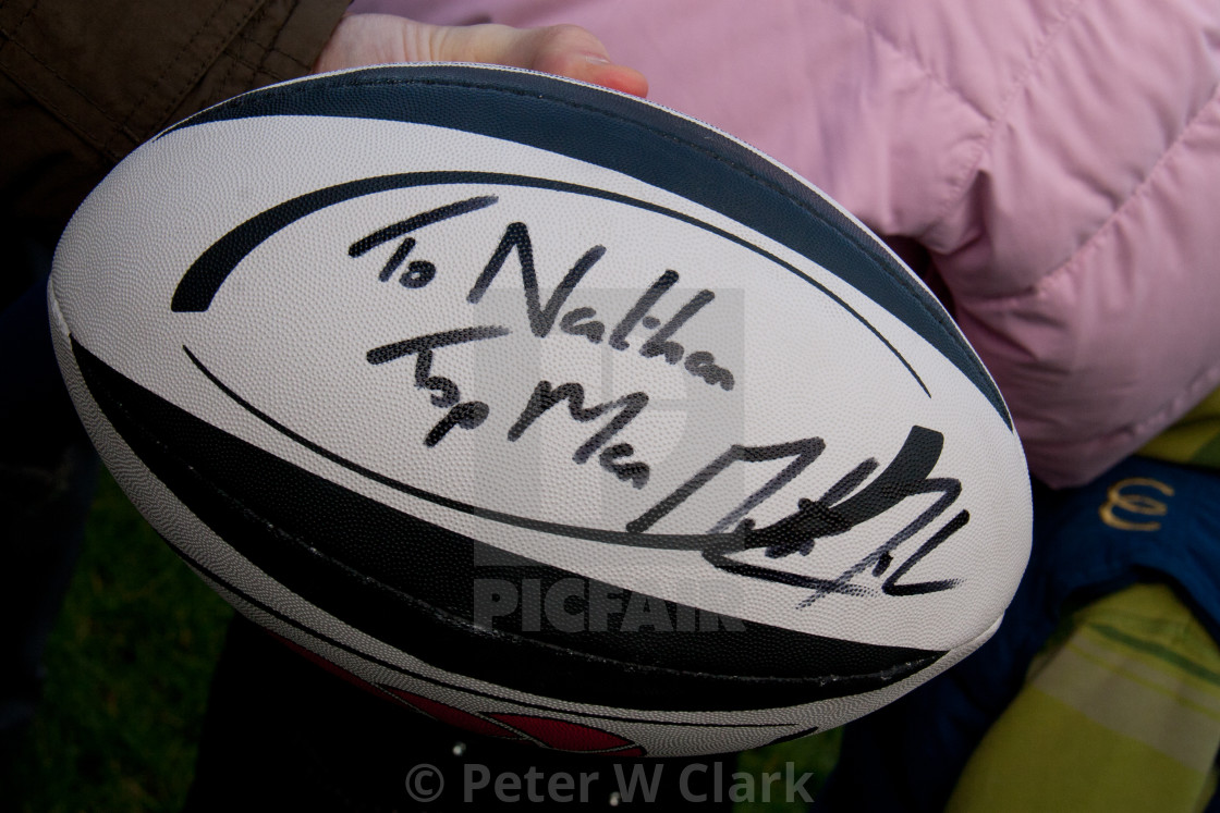 """Rugby Ball Signed by Martin Johnson CBE"" stock image"