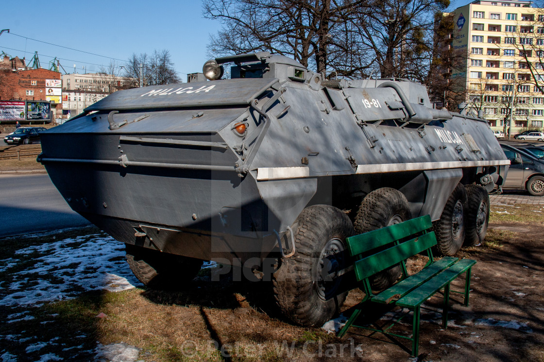 """Milicja Armoured Car Exhibit at The Solidarity Museum, Gdansk, Poland"" stock image"