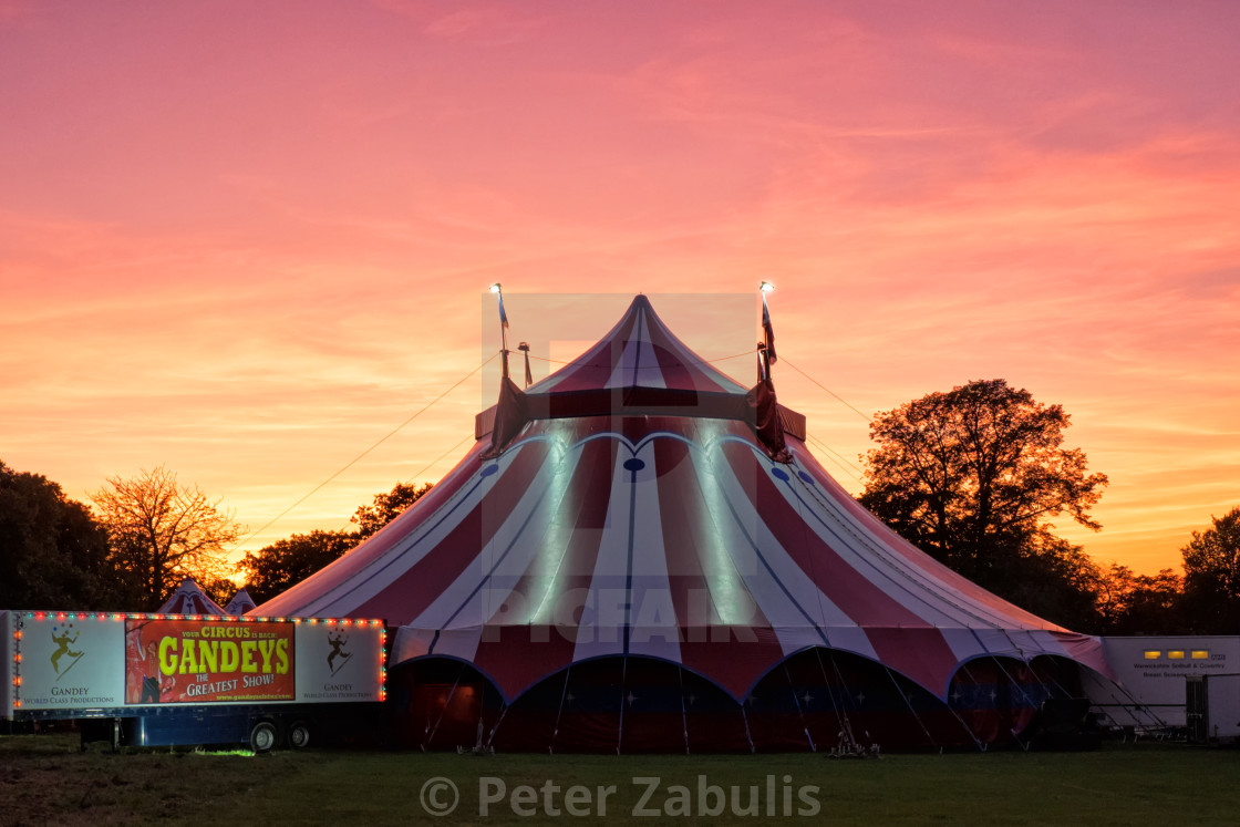 """""""Sunset over the big top."""" stock image"""