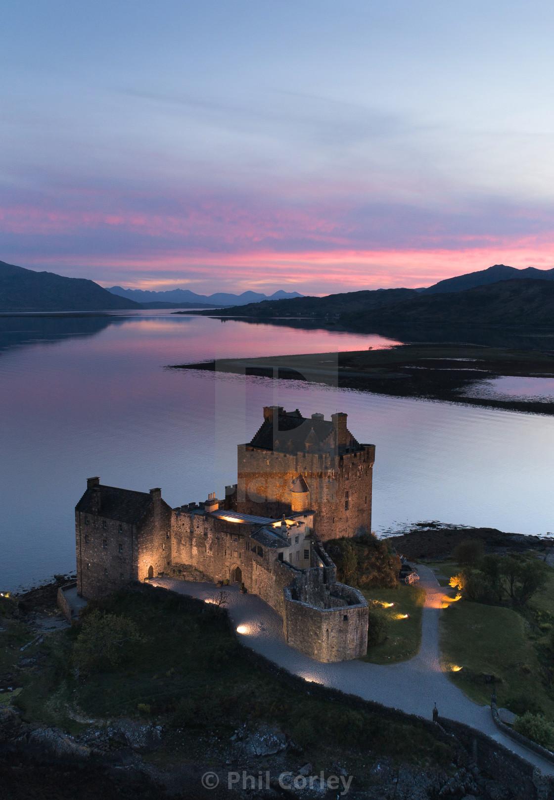 """Sunset at Eilean Donan Castle"" stock image"