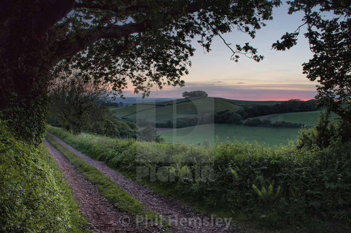 """Afterglow - Longcombe"" stock image"
