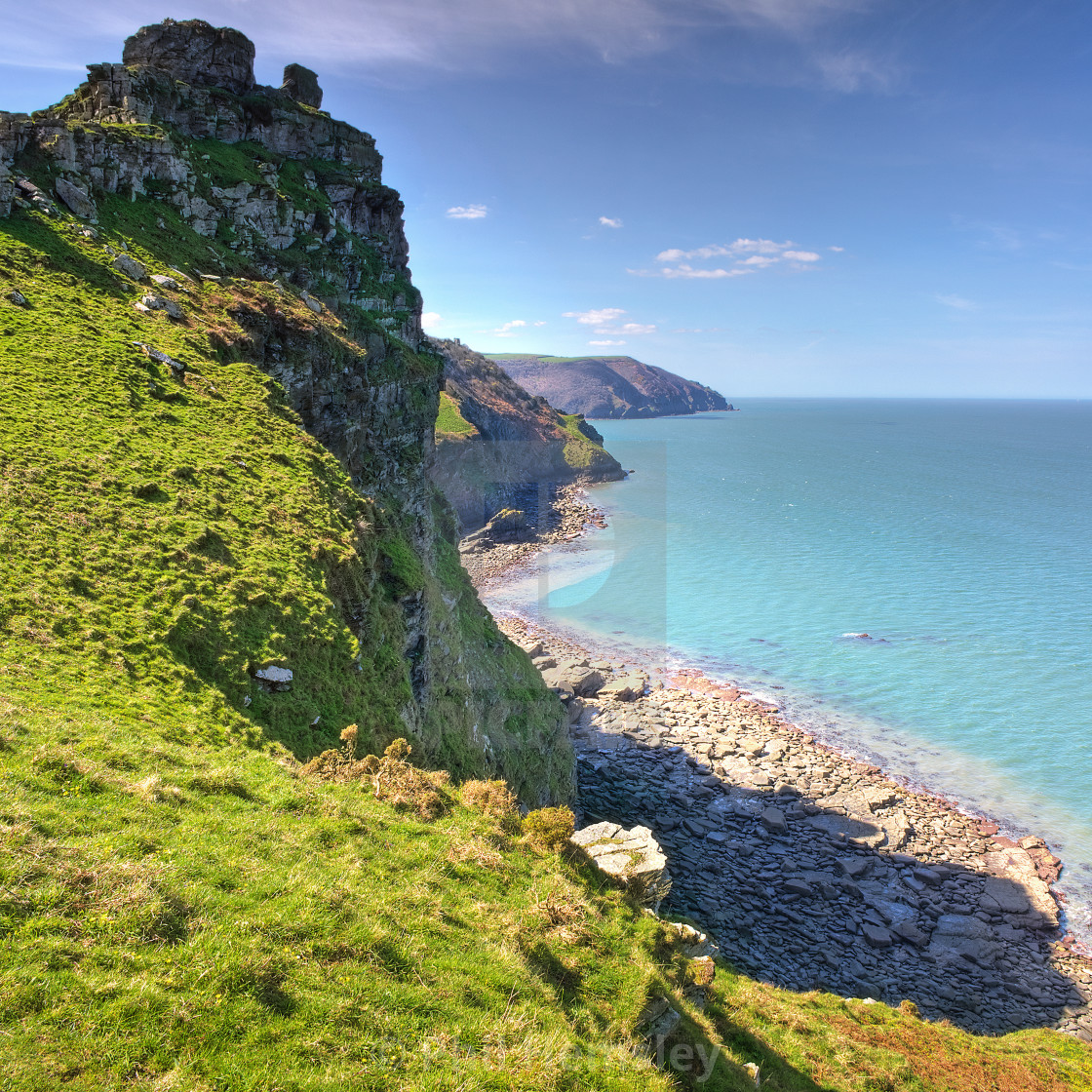 """Castle Rock, Lynton"" stock image"