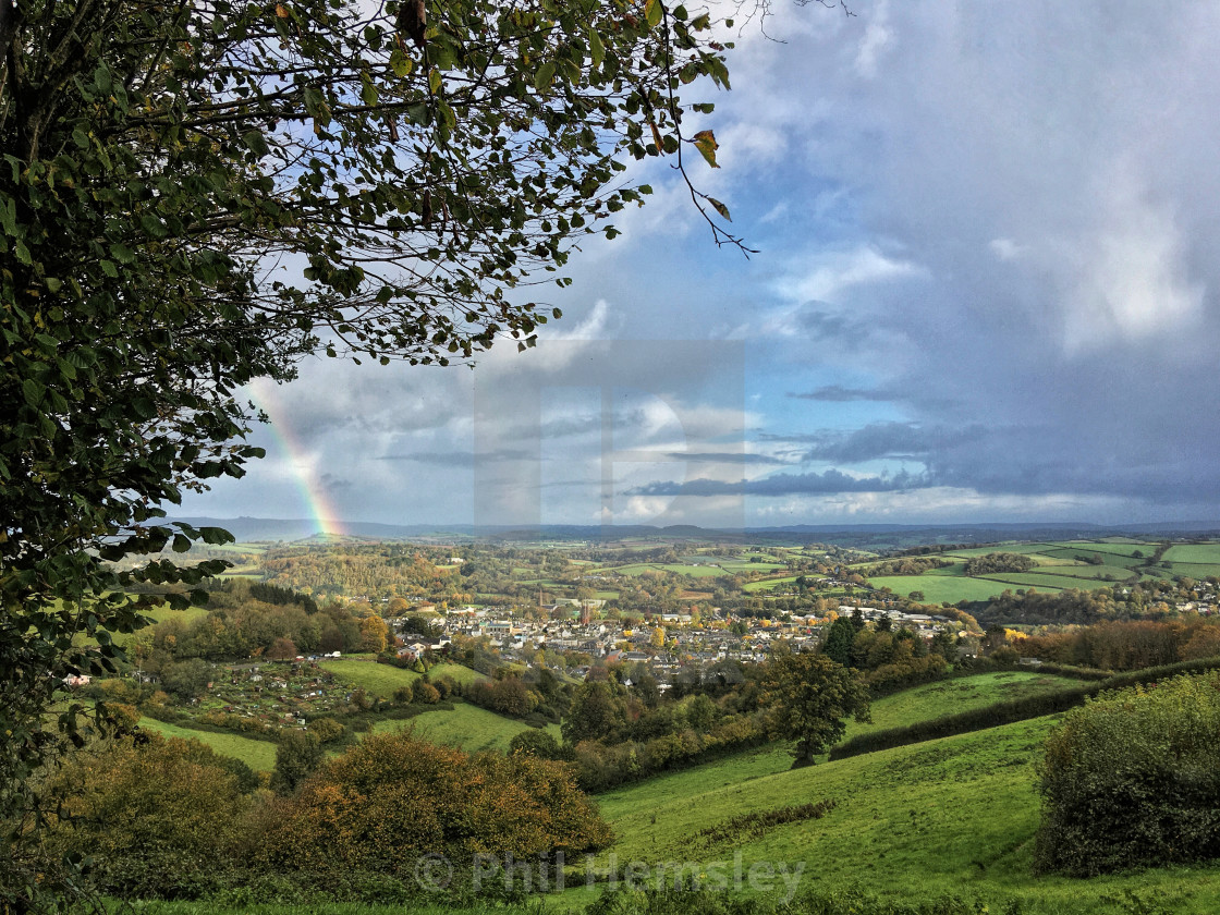 """Totnes - autumn morning rains"" stock image"
