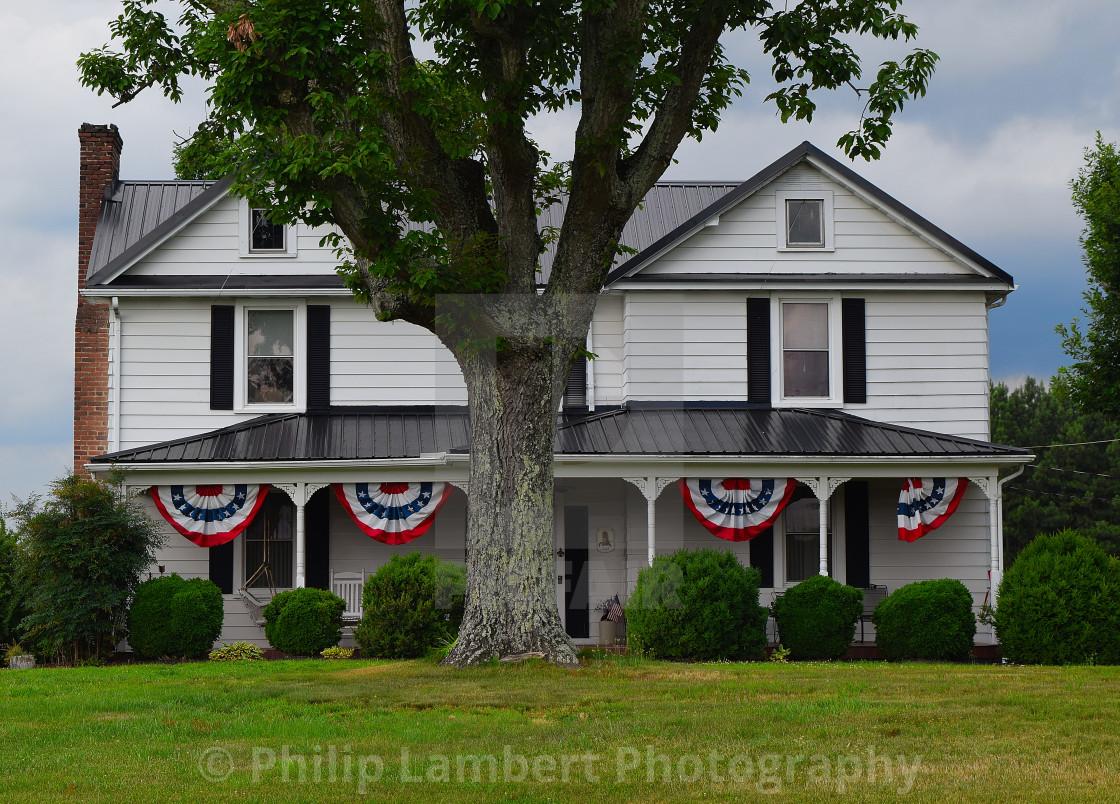 """Virginia Farmhouse, July 4th 2019"" stock image"