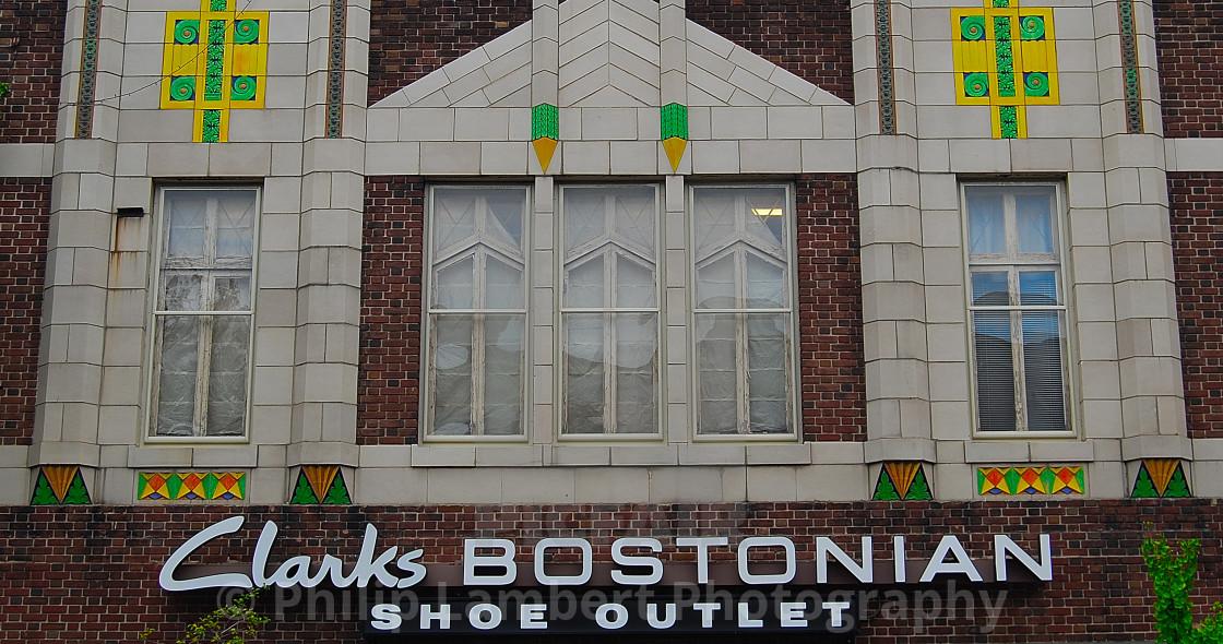 """Clarks Bostonian Shoe Building Boston"" stock image"