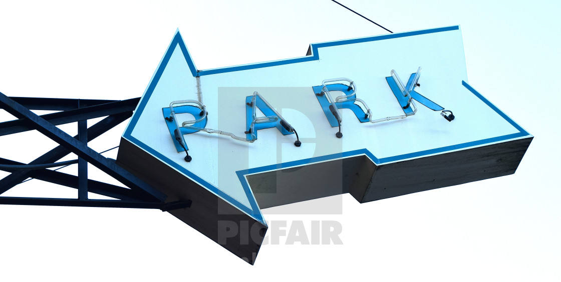 """""""Neon Parking Sign"""" stock image"""