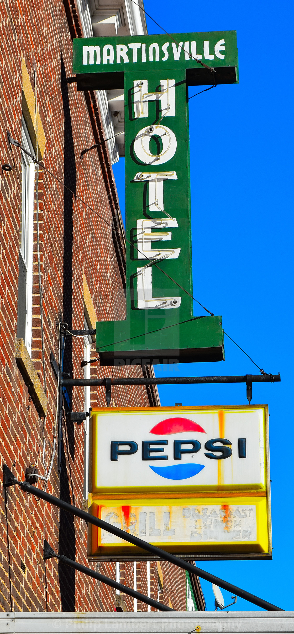 """""""Martinsville Hotel Sign"""" stock image"""
