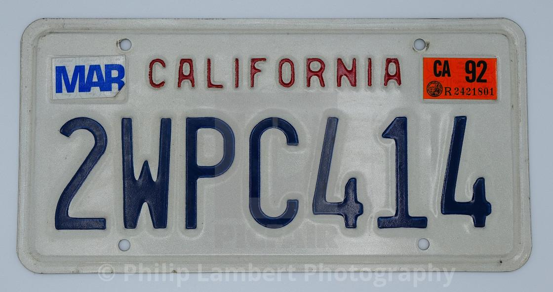 """Vintage California Plate"" stock image"