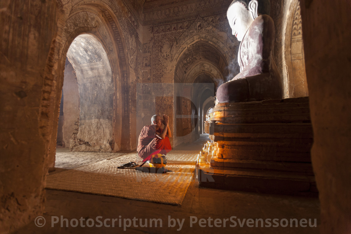 """2858 - Bagan: Paya Thone Zu, enlightened buddha and praying monk"" stock image"