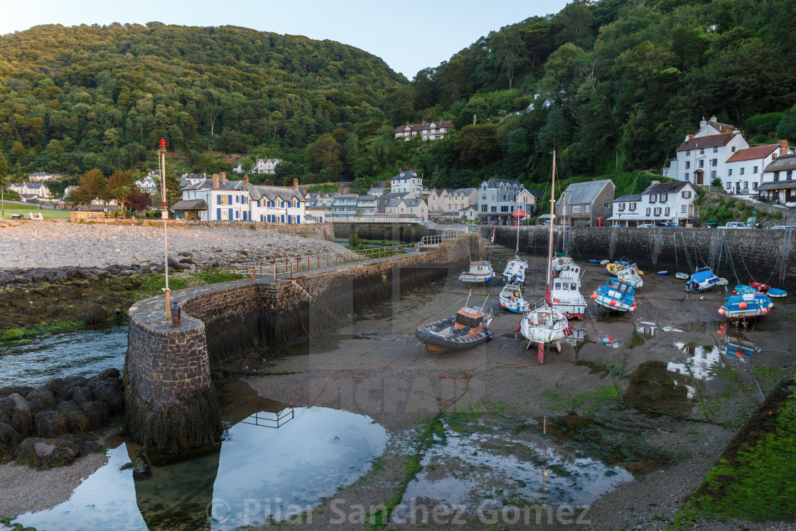 """Lynmouth harbour in the evening"" stock image"