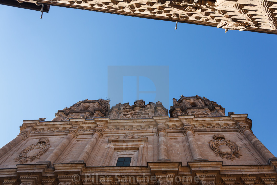 """View of La Clerecia and Casa de las Conchas, Salamanca, Spain"" stock image"