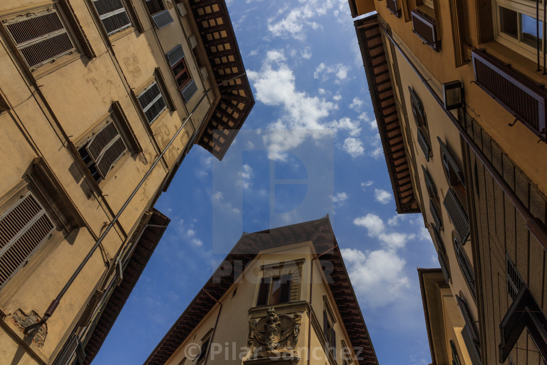 """""""Florence, view of houses and sky from a different angle"""" stock image"""