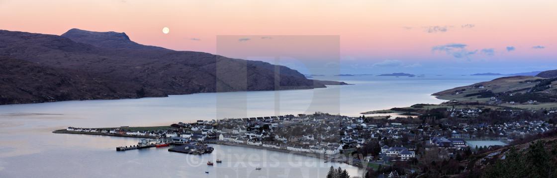 """Moonset Sunrise over Ullapool"" stock image"