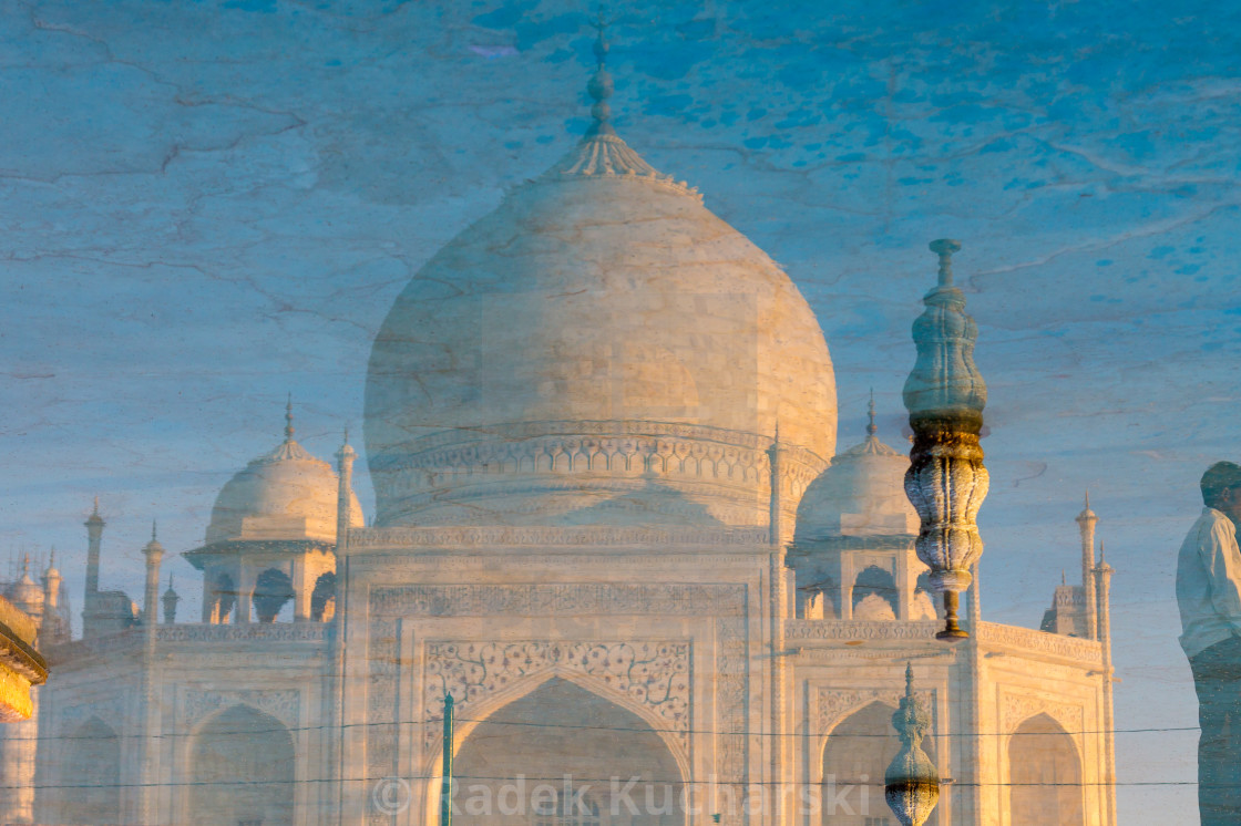 """Taj Mahal reflected in the garden's pool"" stock image"