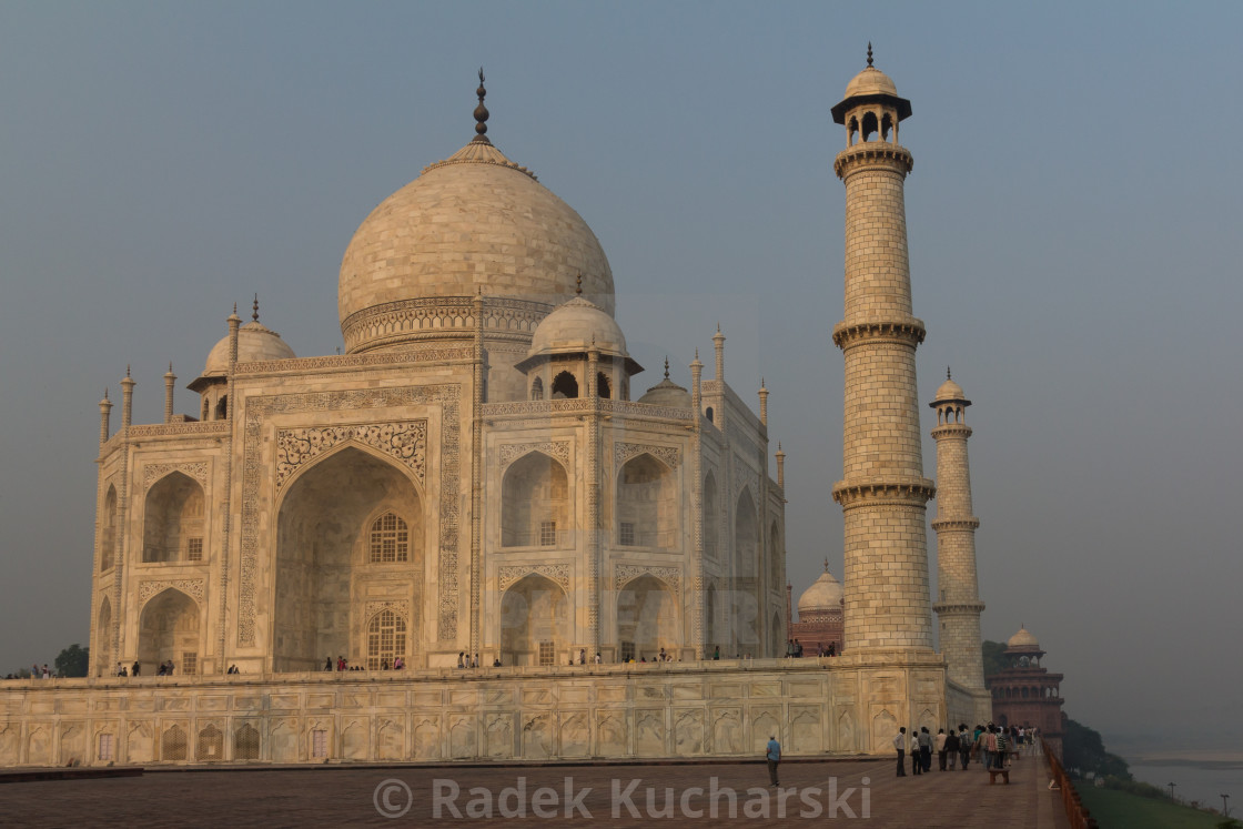"""Taj Mahal - the mausoleum seen from the east at sunrise"" stock image"