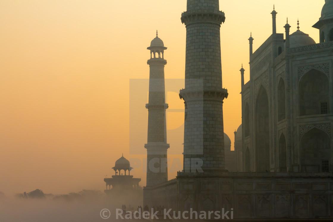 """Taj Mahal at sunrise on a January day"" stock image"
