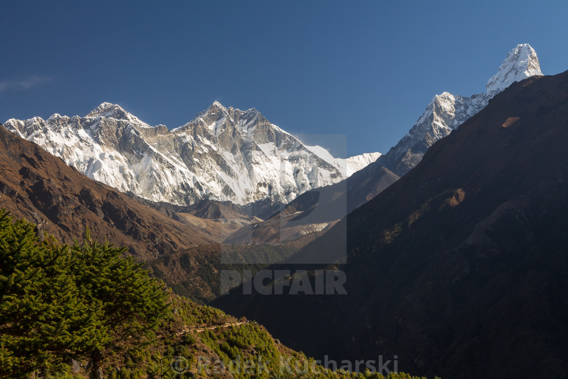 """Dudh Koshi Valley with Mt. Everest, Lhotse & Ama Dablam above it"" stock image"