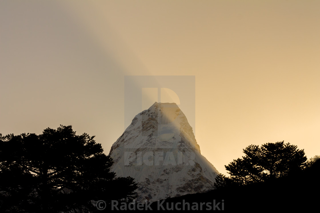 """Ama Dablam at sunrise, Khumbu"" stock image"