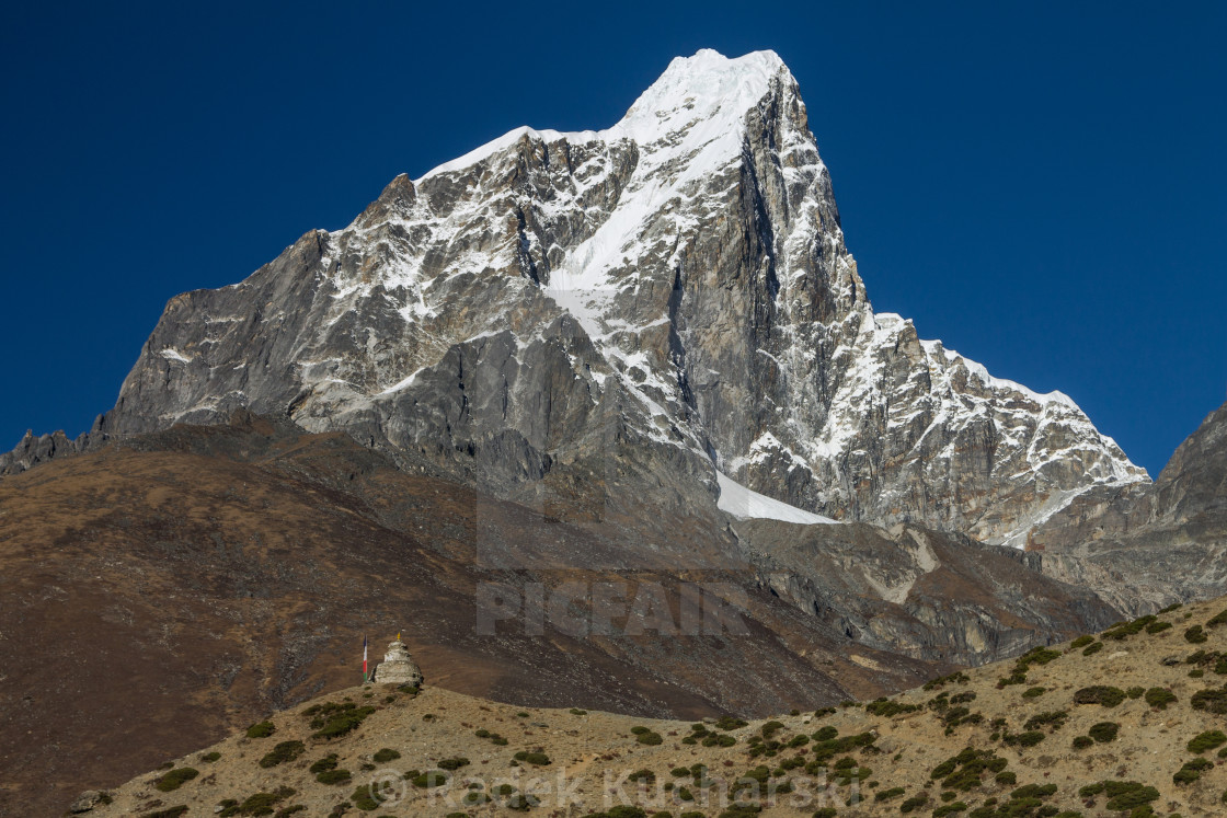 """""""Taboche seen from Dingboche"""" stock image"""