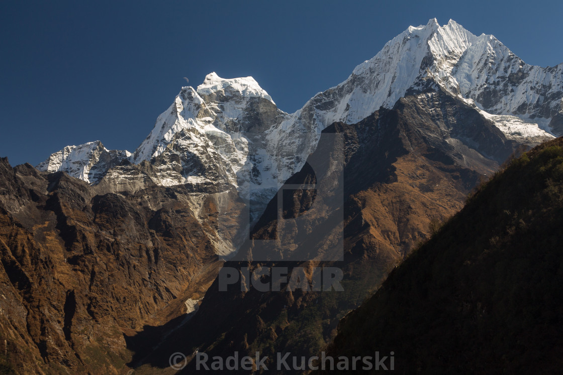 """Kangtega & Thamserku - view from Mongla"" stock image"