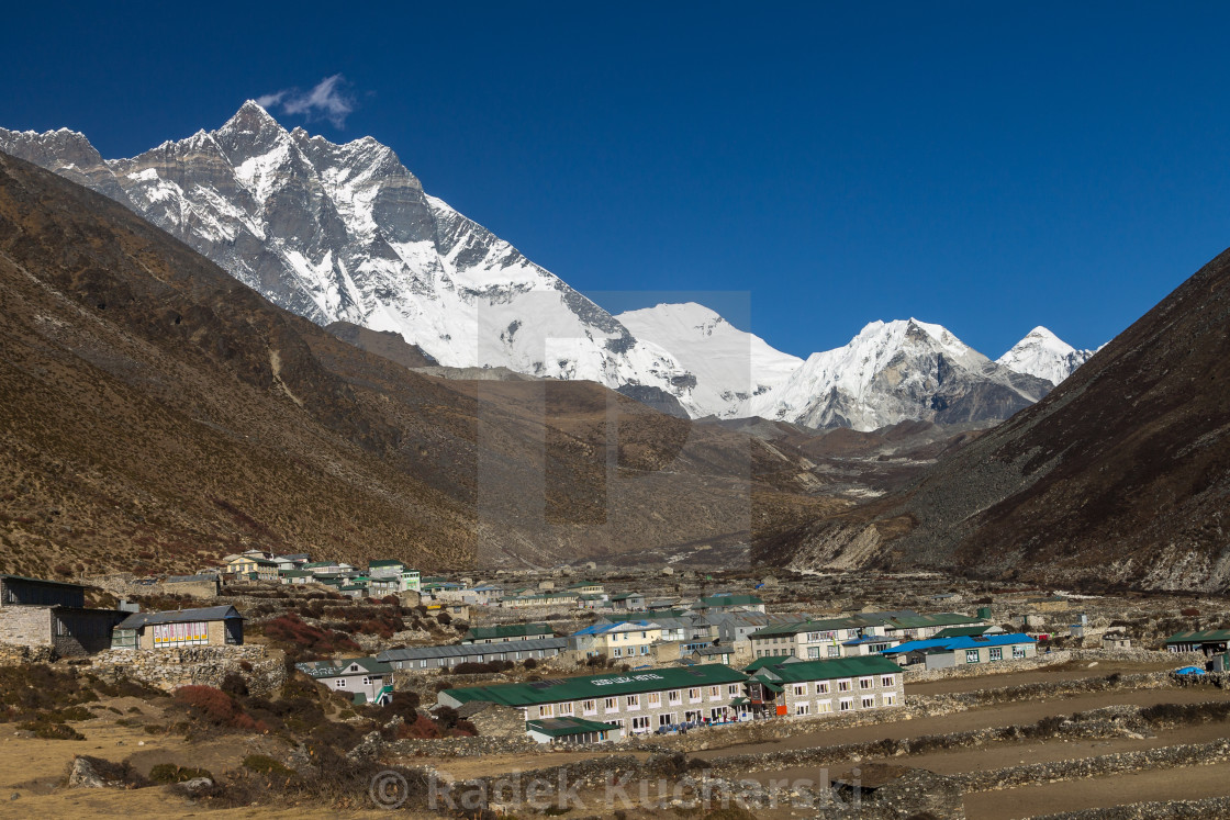 """Lhotse, Shartse, Cho Polu and Imja Tse peaks from Dingboche"" stock image"