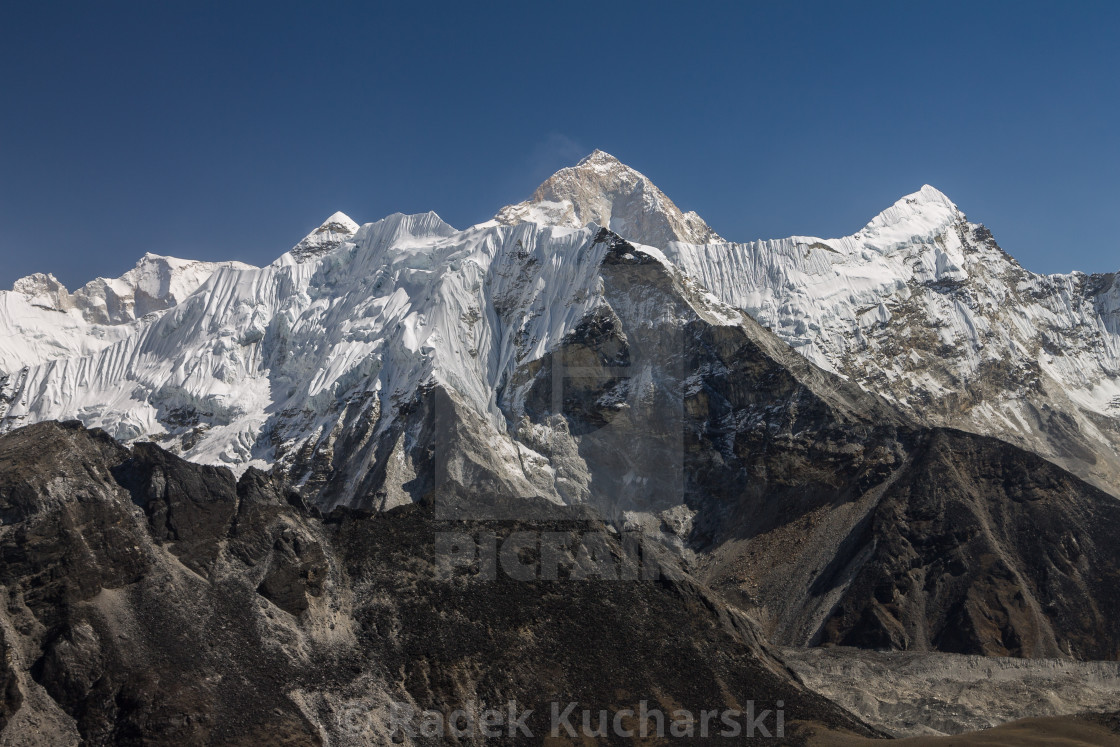 """Makalu, Island Peak and others seen from Chukhung Ri"" stock image"