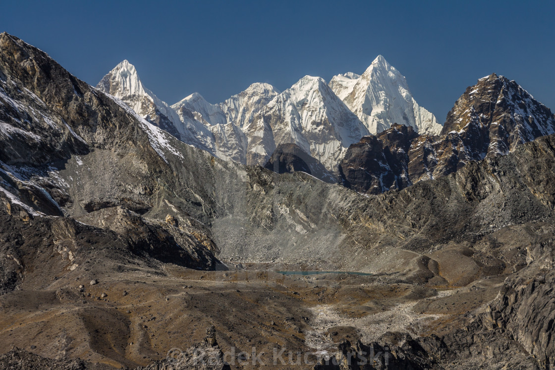 """A long-distance view from Chukhung Ri: Peaks of Rolwaling Himal"" stock image"