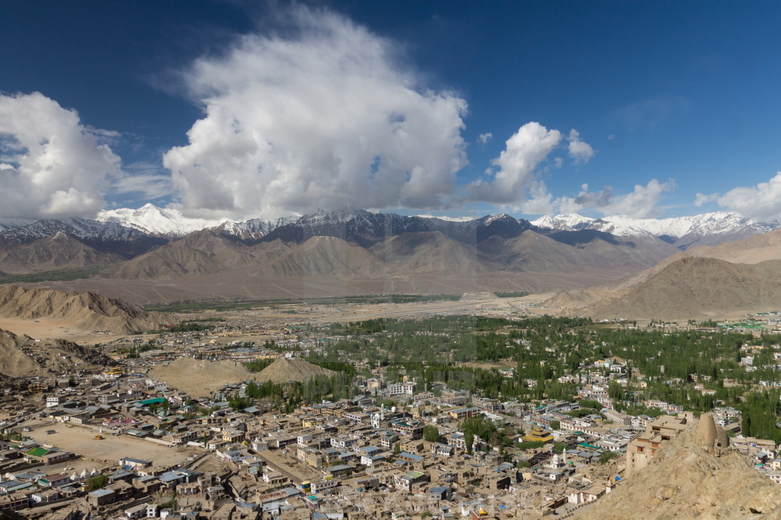 """Leh Town of Ladakh - view from Namgyal Tsemo"" stock image"