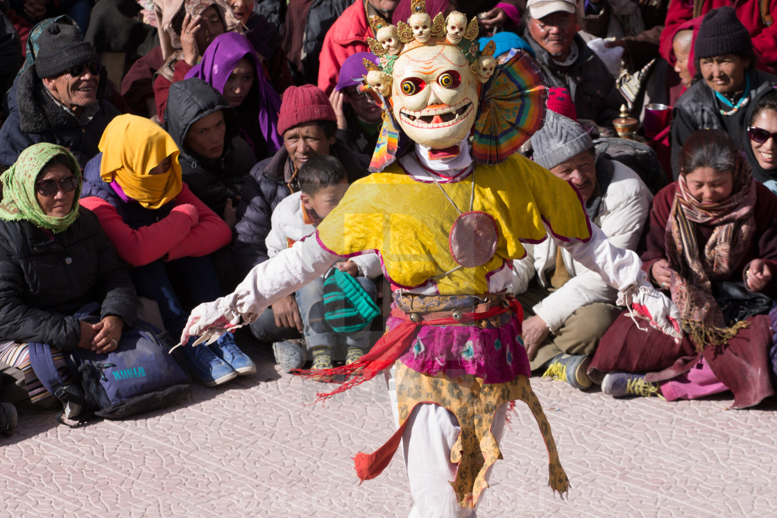 """Mask dance performed by a Buddhist monk. Spituk Monastery, Ladakh"" stock image"