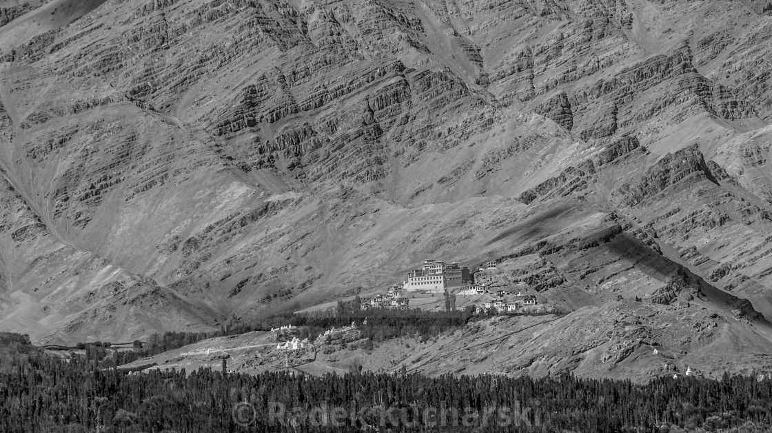 """Matho Monastery and the Zanskar Mountains' rock layers in B&W"" stock image"